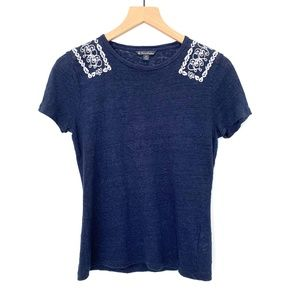 Brooks Brothers Navy Blue Linen Embroidered TShirt